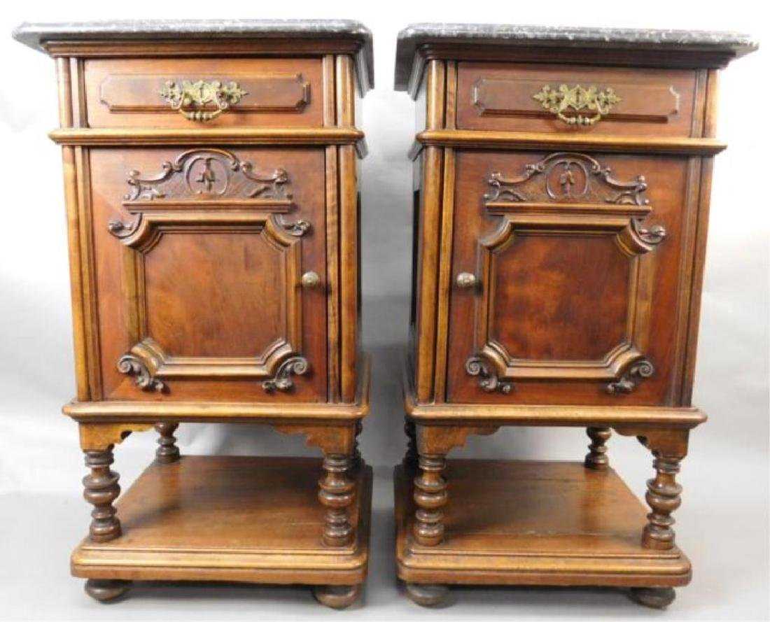 Pair Marble Top Carved Night Stands