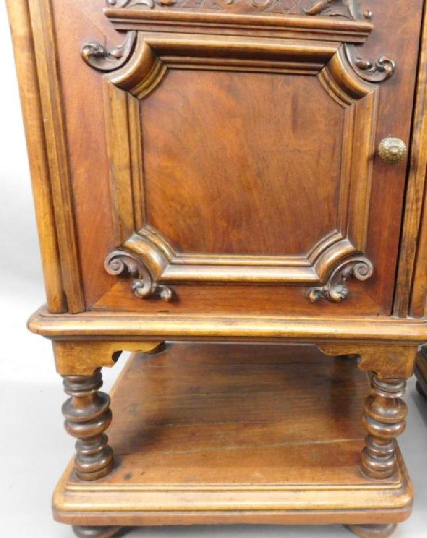 Pair Marble Top Carved Night Stands - 3