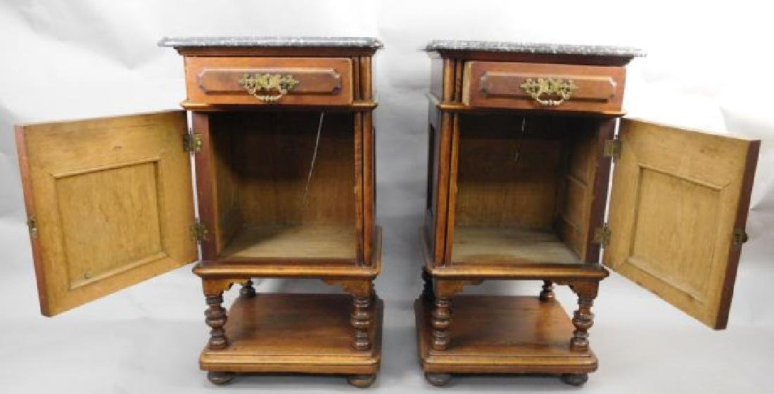 Pair Marble Top Carved Night Stands - 4