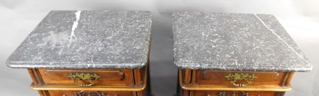 Pair Marble Top Carved Night Stands - 5