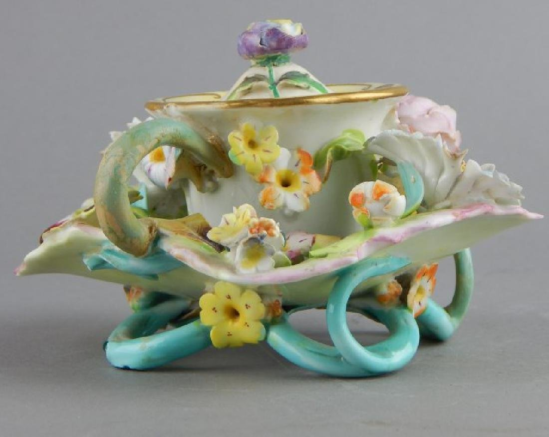 Porcelain Covered Candle Holder with Flowers