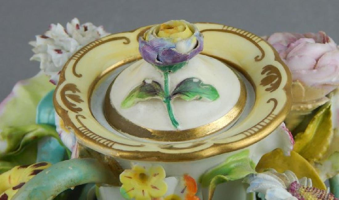 Porcelain Covered Candle Holder with Flowers - 2