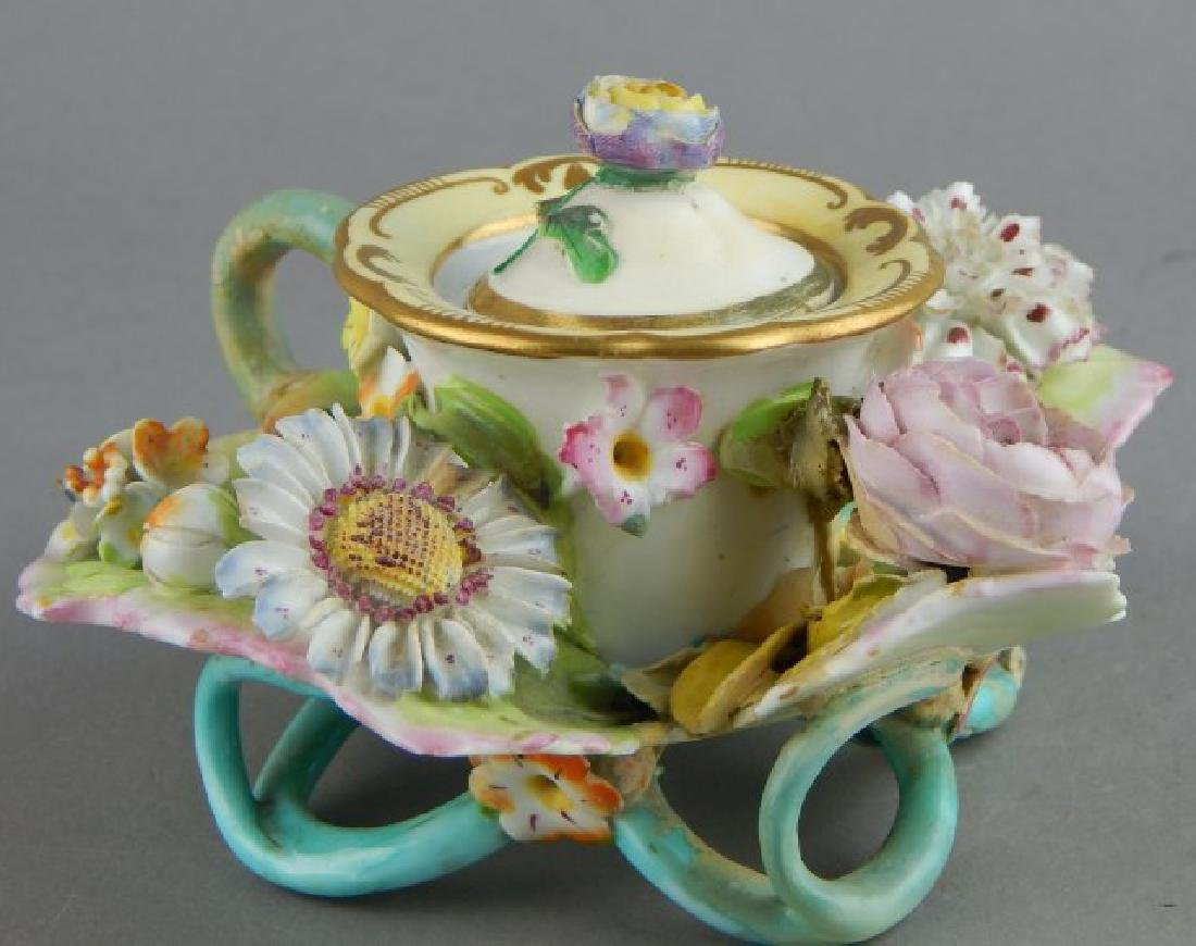 Porcelain Covered Candle Holder with Flowers - 3