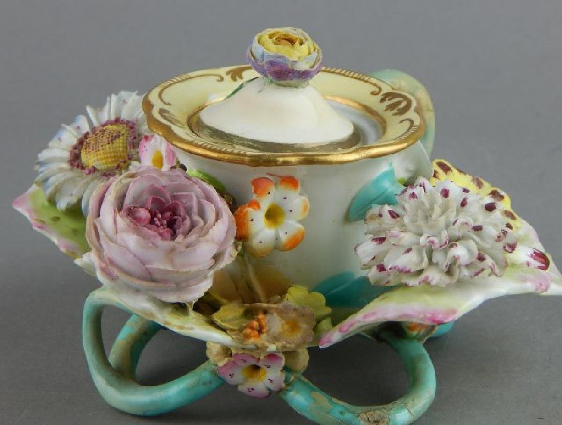 Porcelain Covered Candle Holder with Flowers - 4