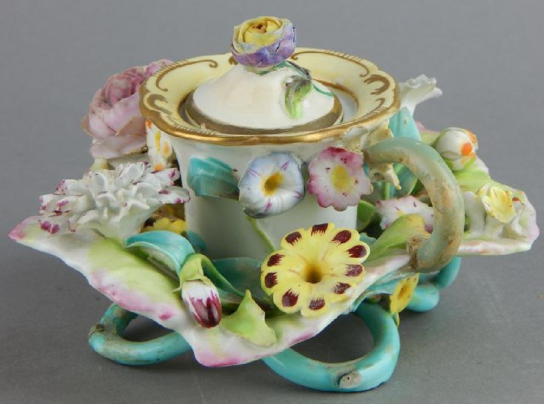 Porcelain Covered Candle Holder with Flowers - 5