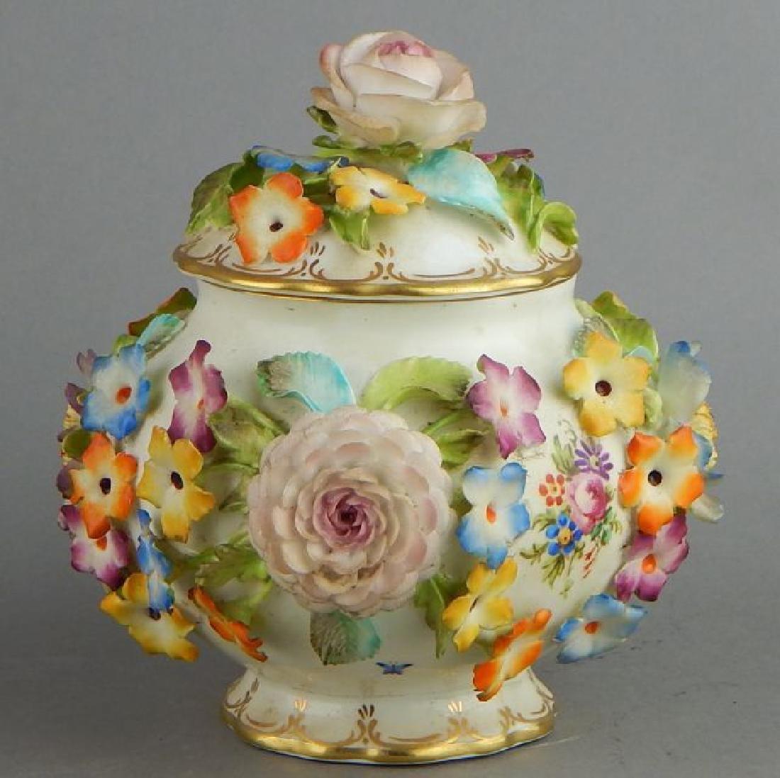 Coal Brookdale Covered Jar with Raised Flowers