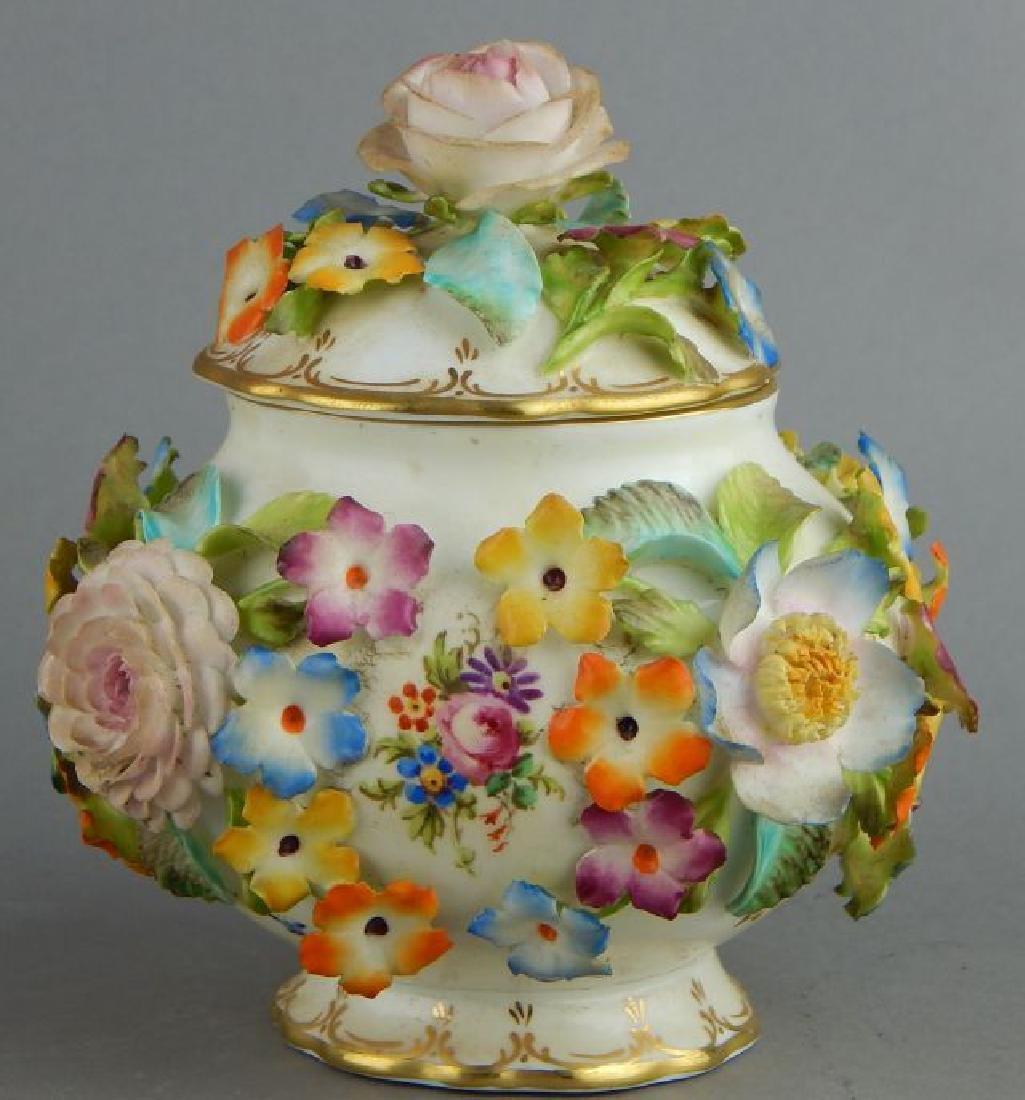 Coal Brookdale Covered Jar with Raised Flowers - 2
