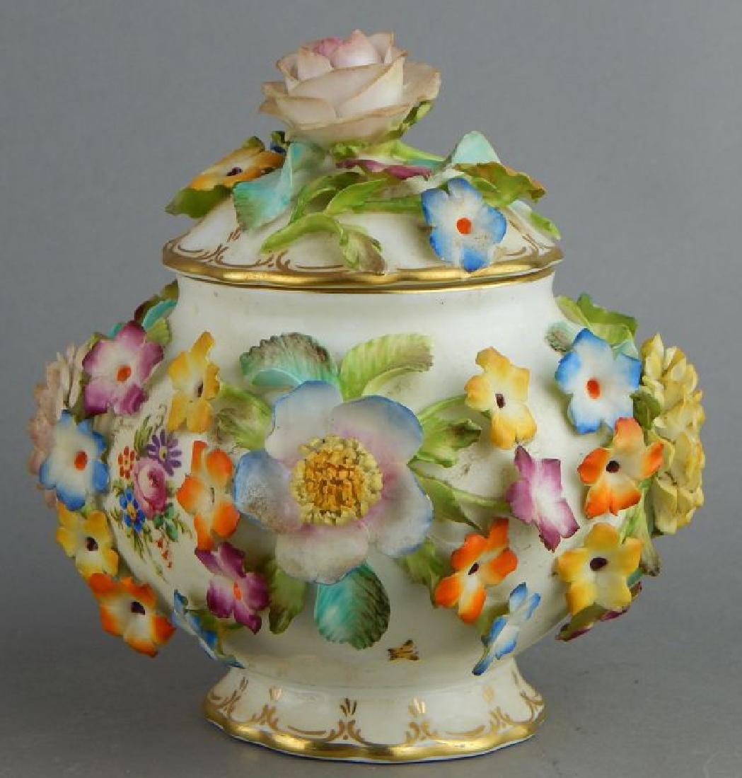 Coal Brookdale Covered Jar with Raised Flowers - 3