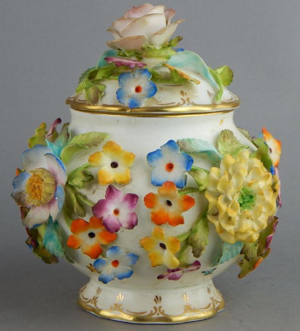 Coal Brookdale Covered Jar with Raised Flowers - 4