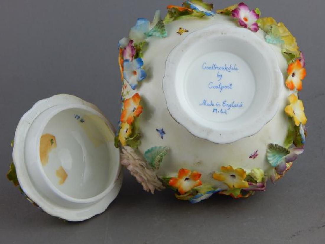 Coal Brookdale Covered Jar with Raised Flowers - 5