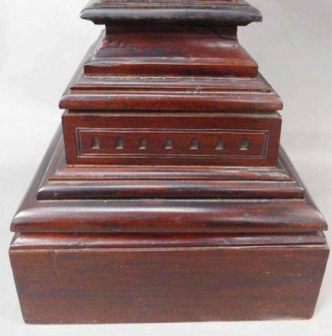 Dark Wood Carved Pedestals - 3