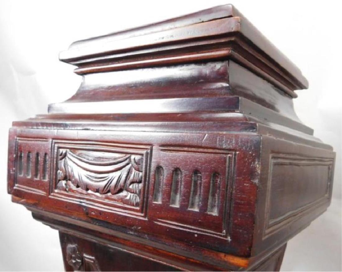 Dark Wood Carved Pedestals - 4