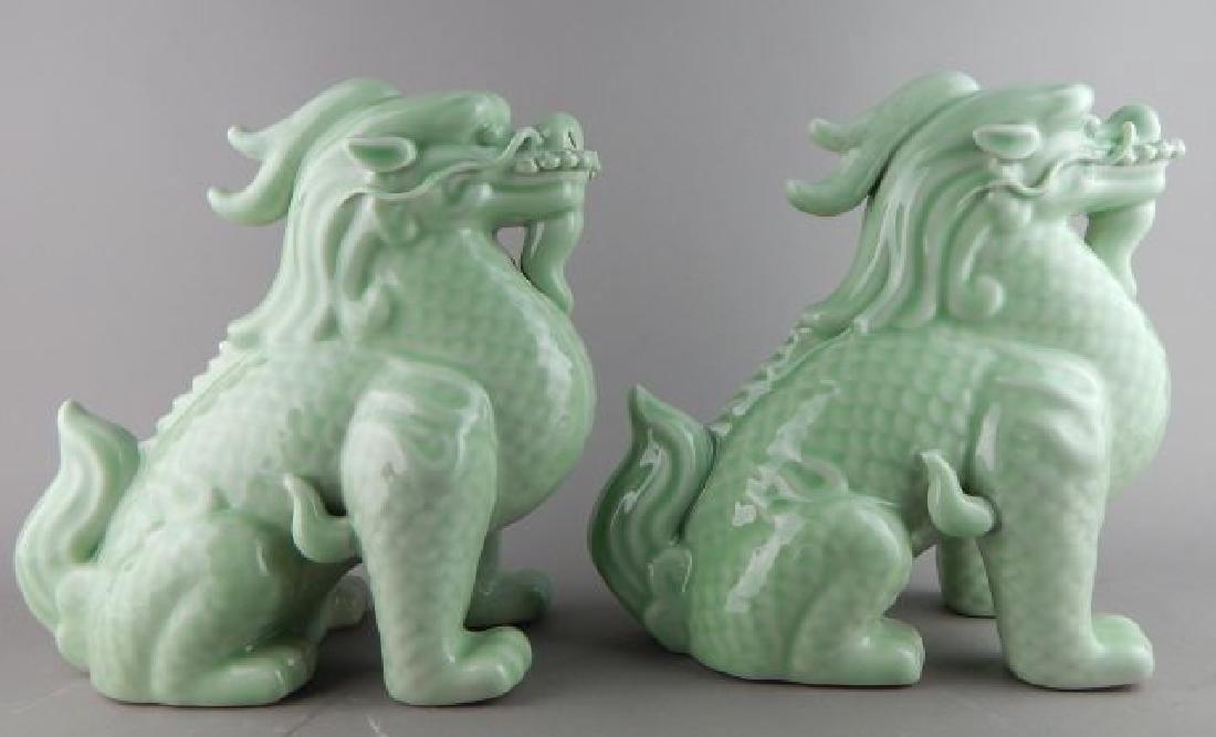 Pair Bean Green Foo Dogs
