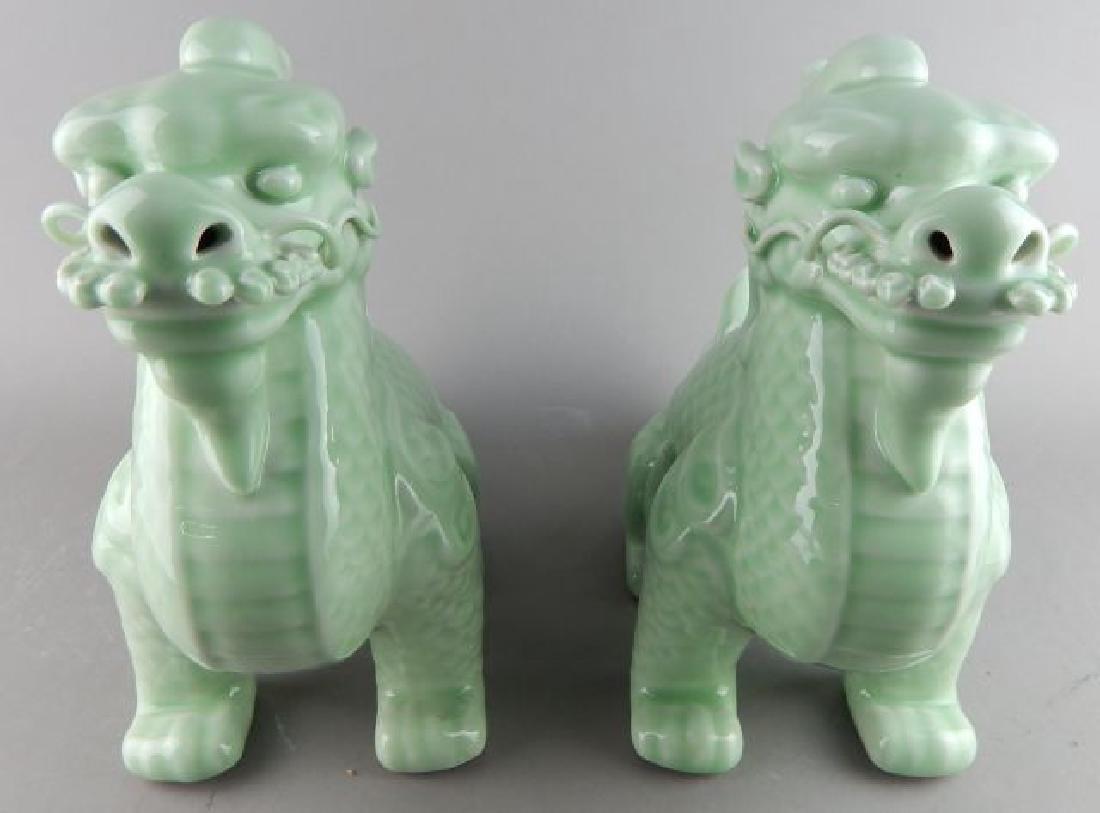 Pair Bean Green Foo Dogs - 2