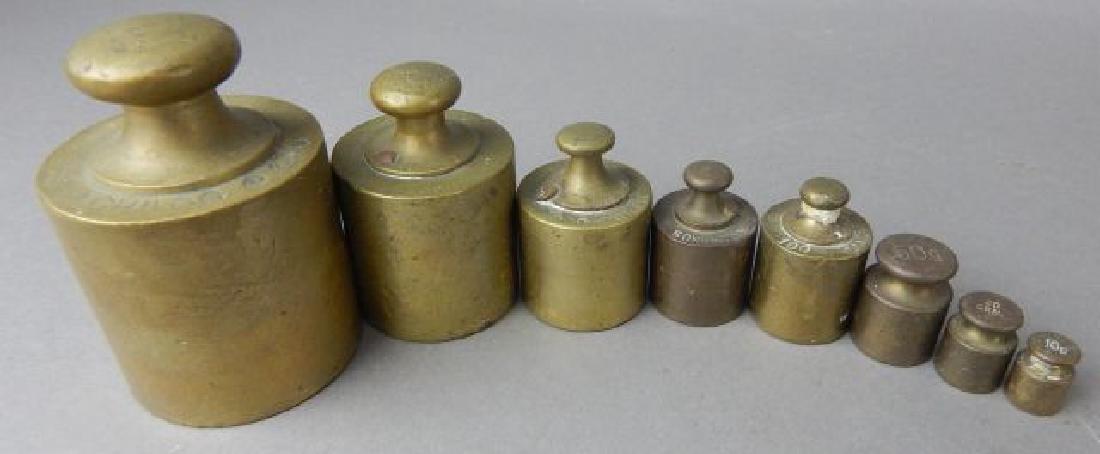 Set of Eight Brass Weights