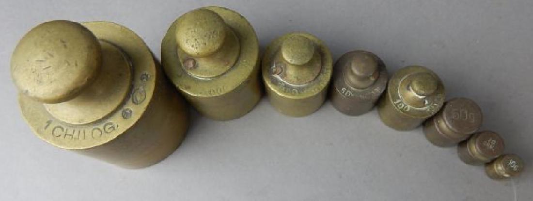 Set of Eight Brass Weights - 2