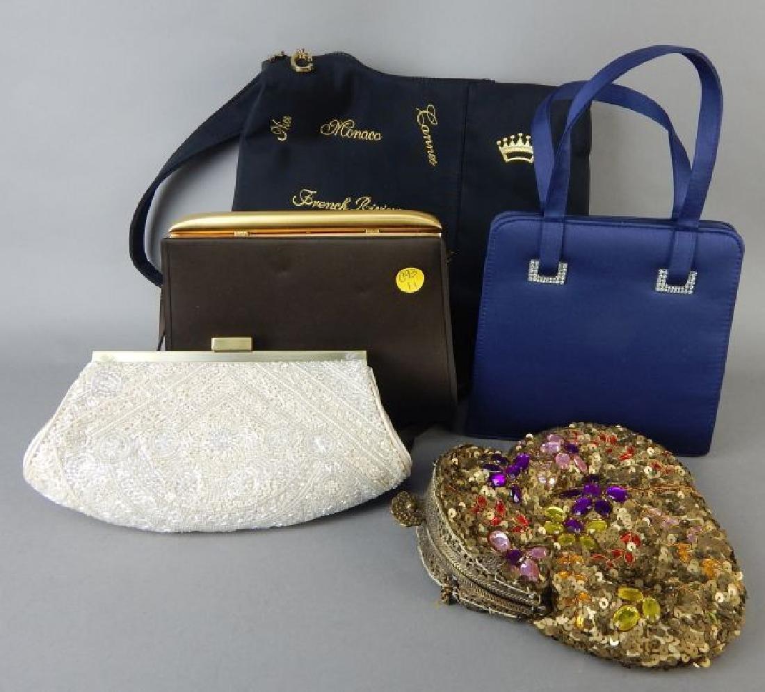 Four Evening Bags & One Cloth Bag