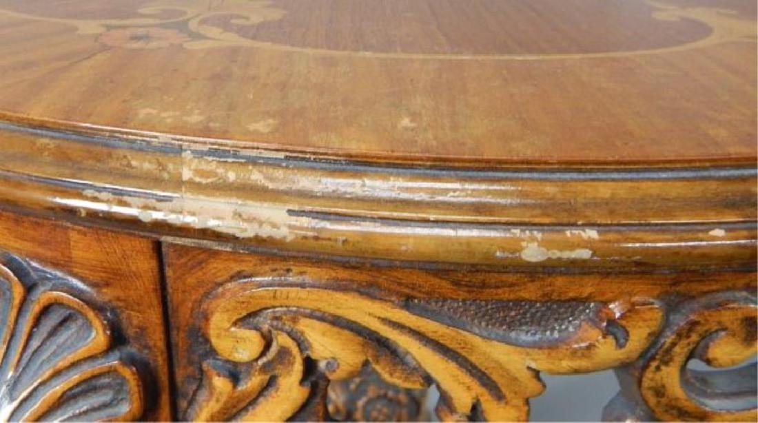 Round Marquetry Top Table - 5