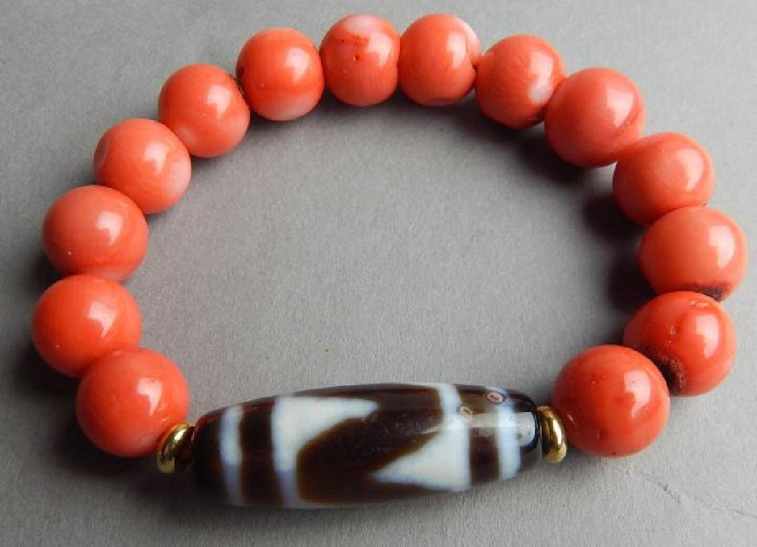 Tiger Tooth and Coral Bracelet - 2