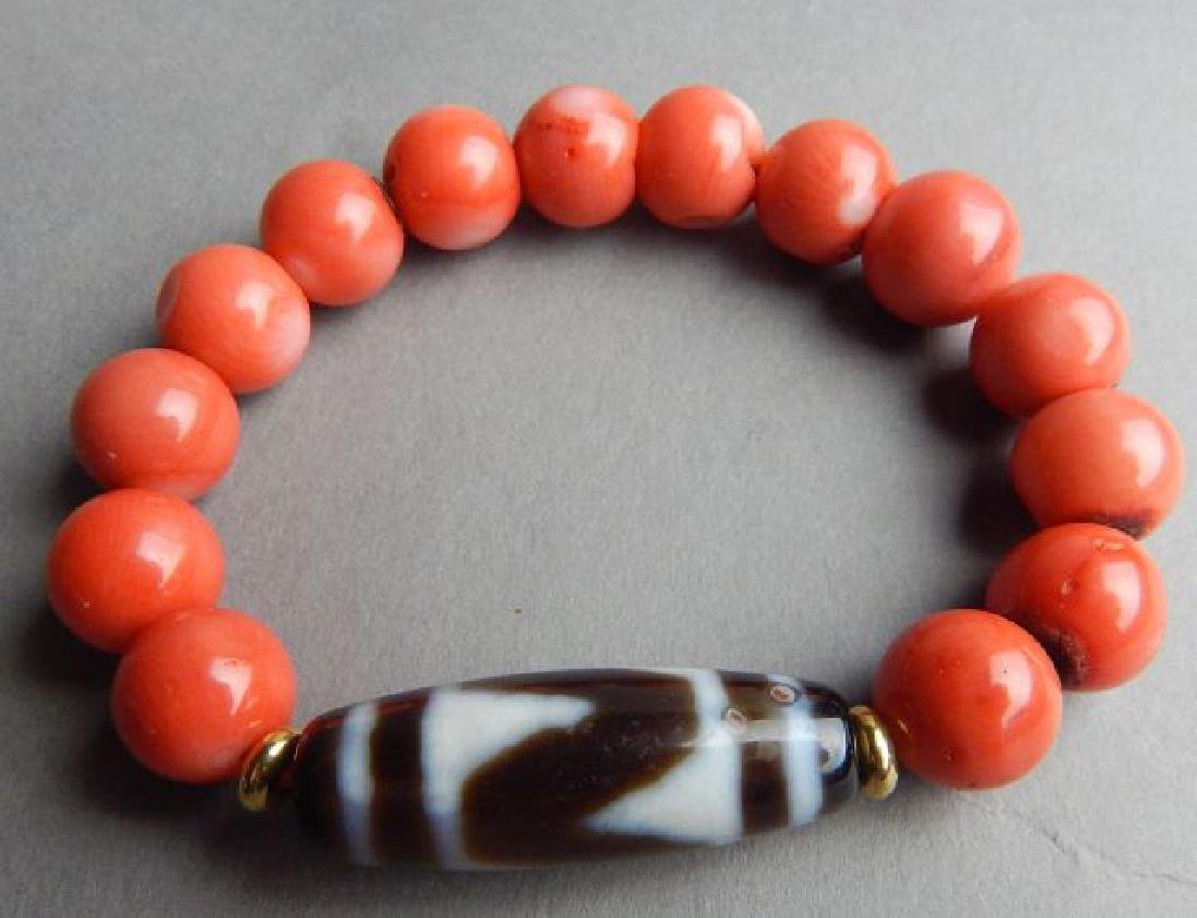 Tiger Tooth and Coral Bracelet - 3