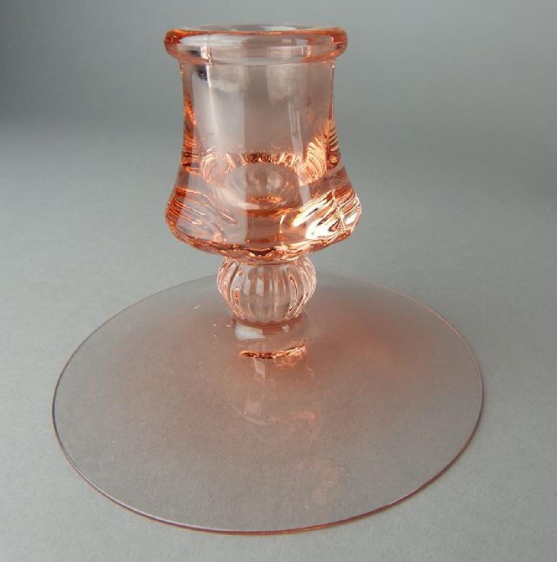 Vintage Cranberry Glass Fan Vase & Candle Holders - 2