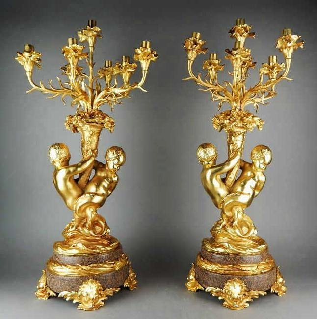 Pair of French Dore Bronze Figural Candelabra