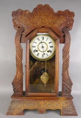 Eastlake Reverse Painted Glass Mantle Clock