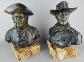 Two Jesse Corsaut Signed Bronzed Busts on Marble