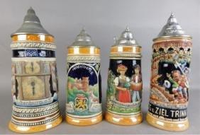 Four German Beer Steins