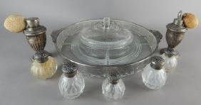 19th Century Salts & Atomizers w/ Sterling & Dish