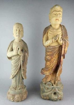 Two Old Chinese Carved Wood Figures