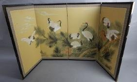 Chinese Four Panel Paint on Paper Screen