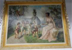 French Monumental Signed Oil on Canvas