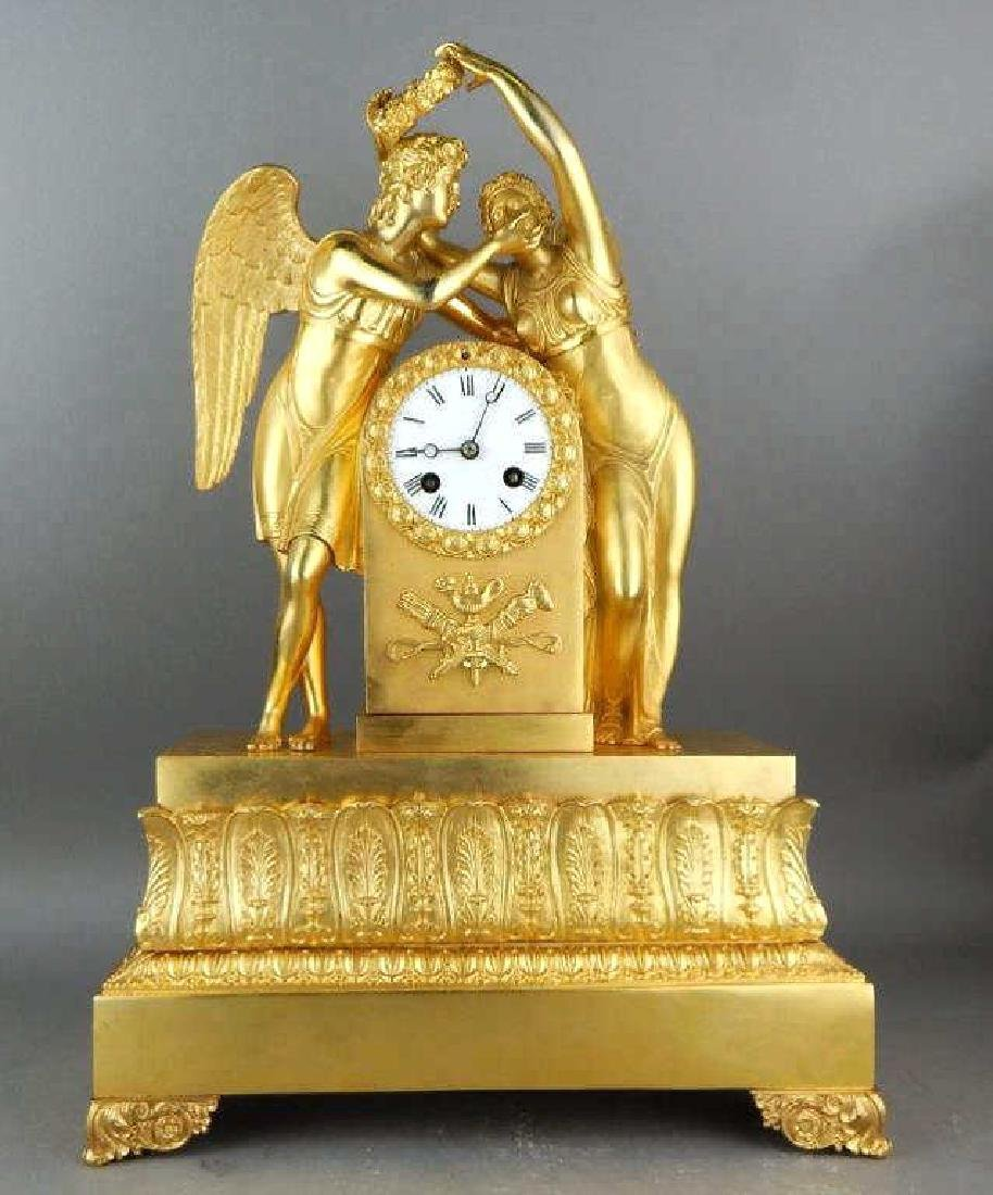 French Dore Bronze Empire Style Figural Clock