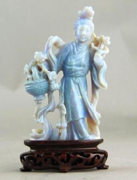 Chinese Carved Lavender Jade Goddess On Wood Base