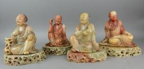 Four Chinese Carved Soapstone Luohan Figures
