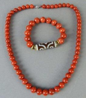 Coral Necklace & Bracele With Three Eye Stone Bead