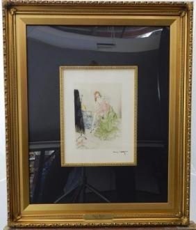 "Louis Icart "" Undressing"" Colored Etching"