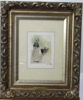 "Louis Icart ""sad Departure"" Colored Etching"