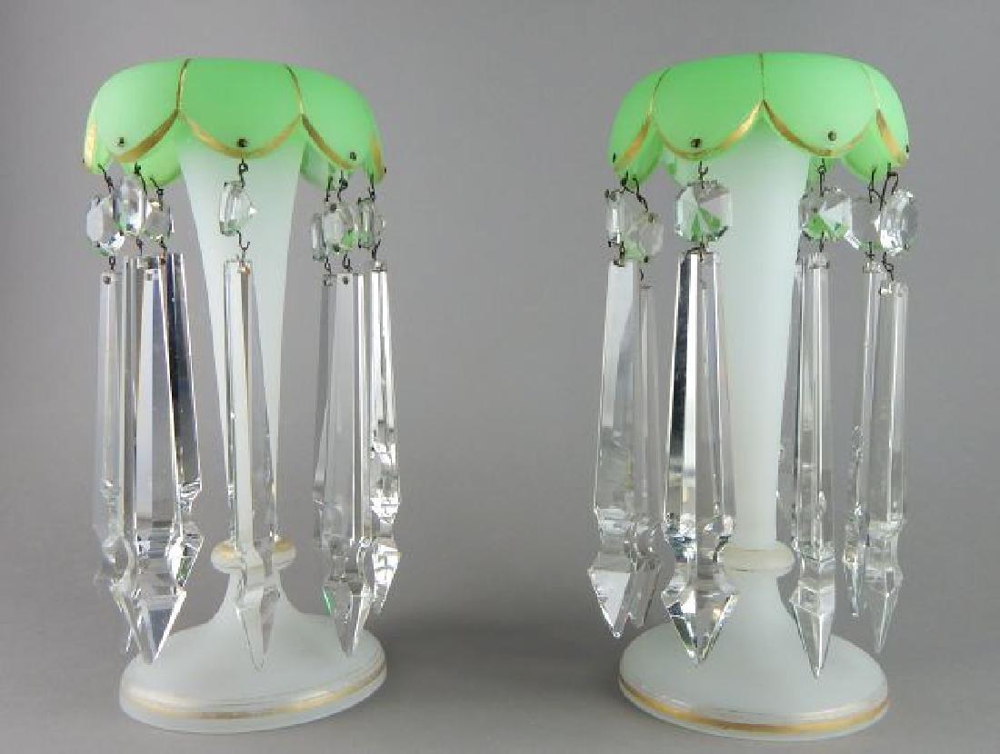 Pair of Bohemian Glass Luster Lamps