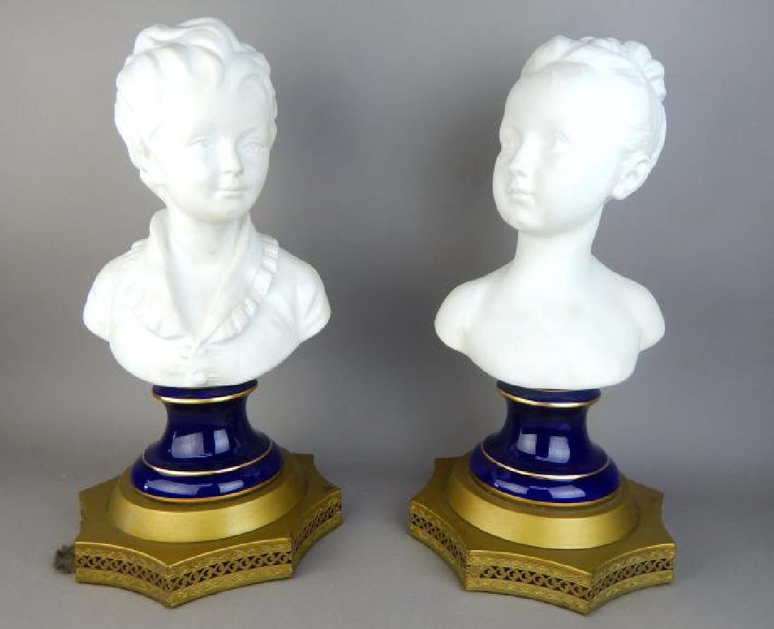 Pair of French Bisque Porcelain Busts