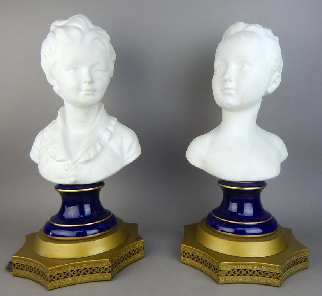 Pair of French Bisque Porcelain Busts - 2