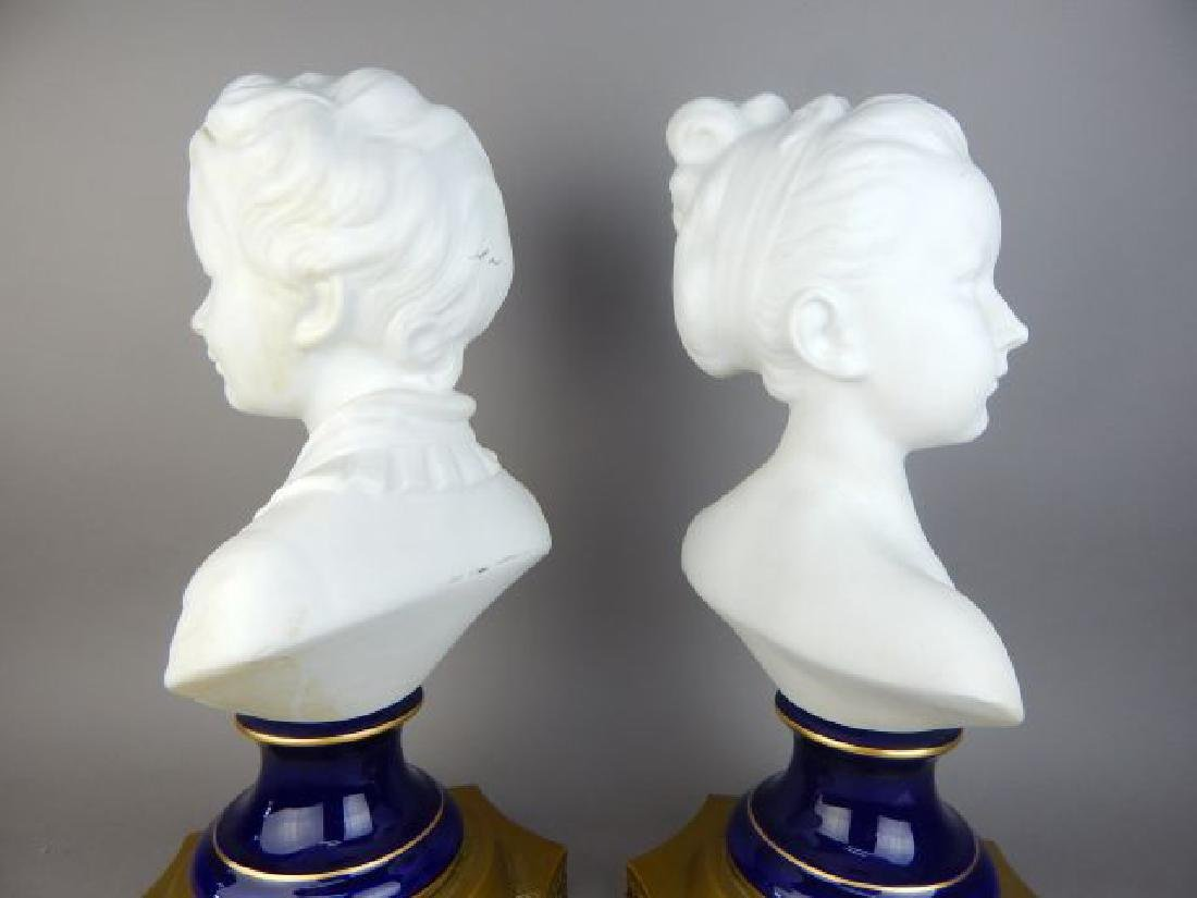Pair of French Bisque Porcelain Busts - 3
