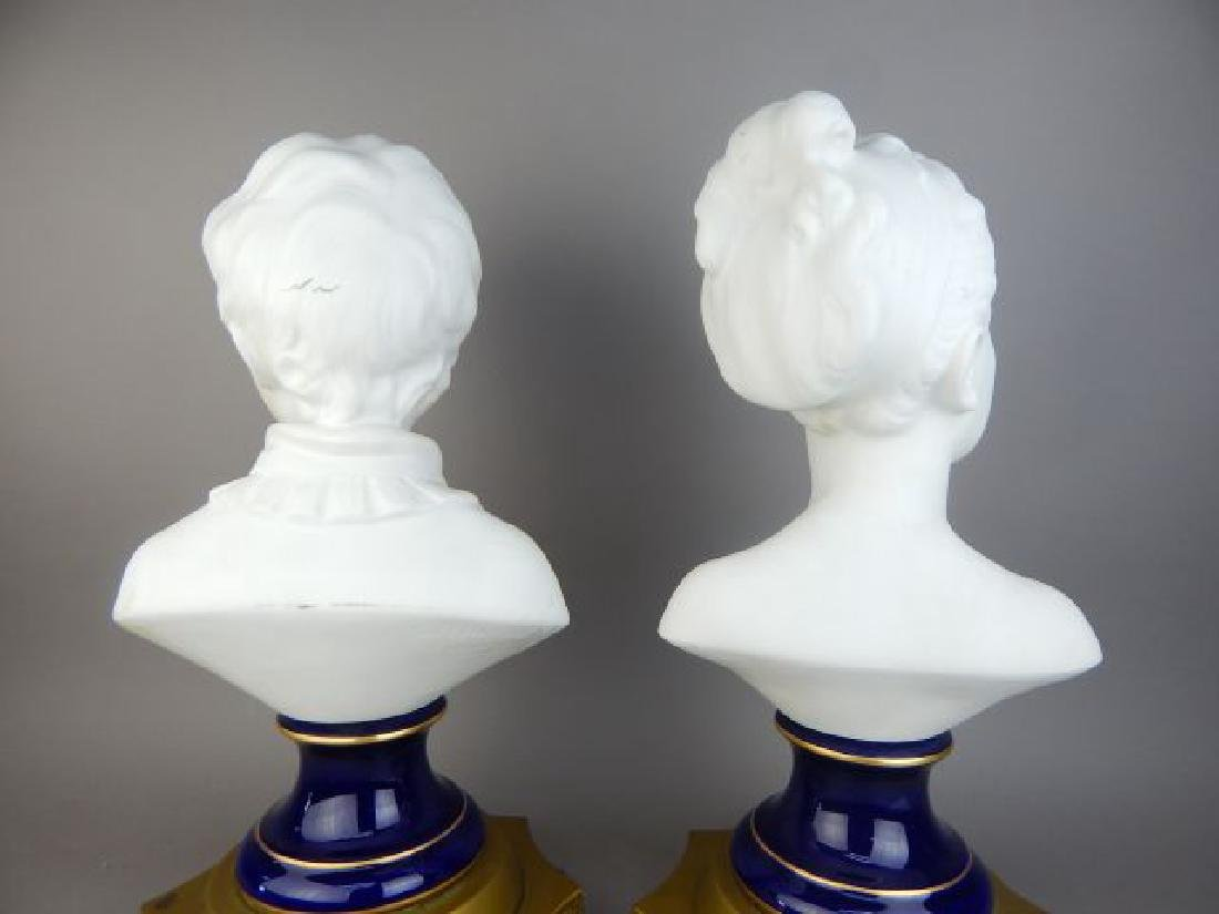 Pair of French Bisque Porcelain Busts - 4