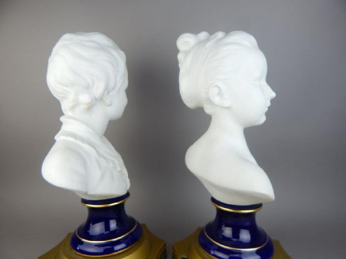 Pair of French Bisque Porcelain Busts - 5