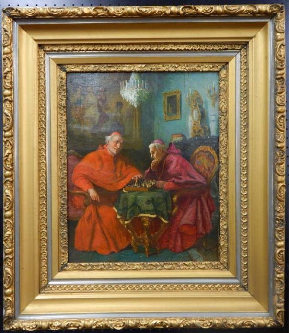 """Jelinek """"Cardinals Playing Chess"""" Oil on Canvas"""