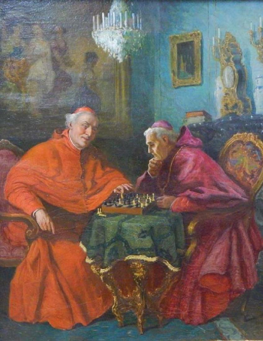 """Jelinek """"Cardinals Playing Chess"""" Oil on Canvas - 2"""