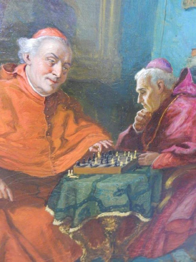 """Jelinek """"Cardinals Playing Chess"""" Oil on Canvas - 3"""