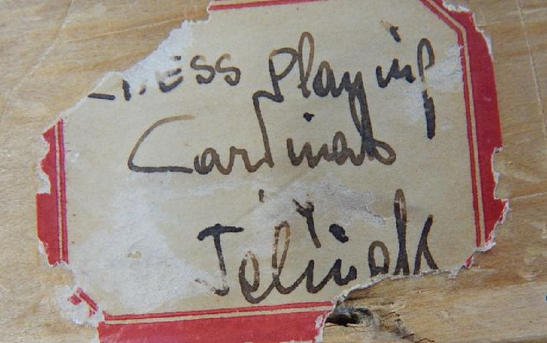 """Jelinek """"Cardinals Playing Chess"""" Oil on Canvas - 7"""