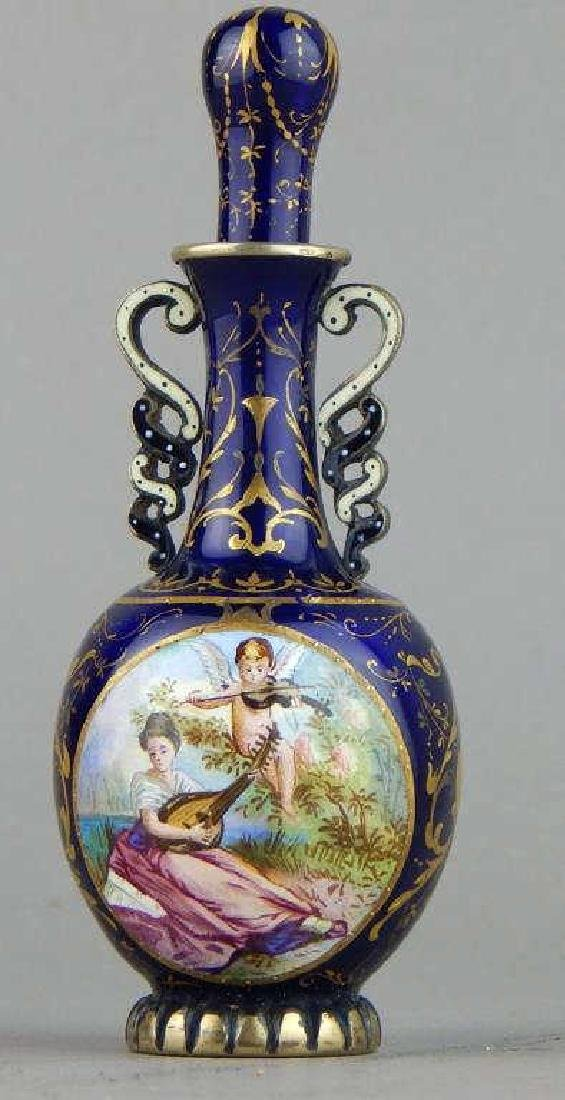 19th Century Viennese Enamel and Silver Perfume